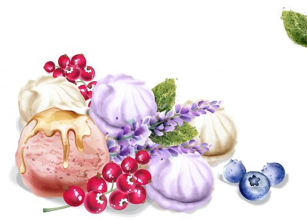Helado y merengue acuarela