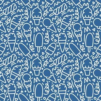 Helado monoline doodle de patrones sin fisuras