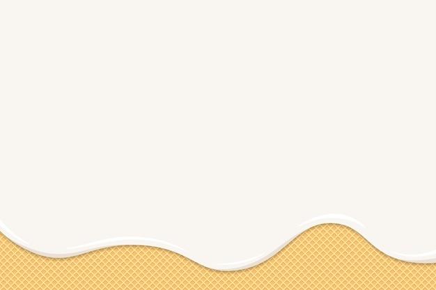 El helado o el yogur se derriten sobre un gofre. las gotas de líquido blanco cremoso o lácteo fluyen sobre las galletas tostadas y crujientes. textura de pastel dulce de oblea esmaltada. plantilla de fondo en blanco para banner o cartel ilustración eps