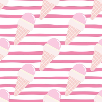 Helado de patrones sin fisuras en cono de galleta. alimentos brillantes en colores rosa y blanco. fondo despojado. telón de fondo decorativo para tela, textil, papel de regalo, papel tapiz. ilustración.