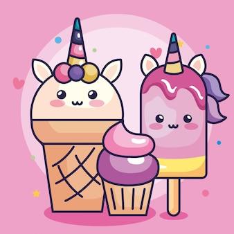 Helados de unicornio con cupcake y lindo diseño de ilustración vectorial de decoración