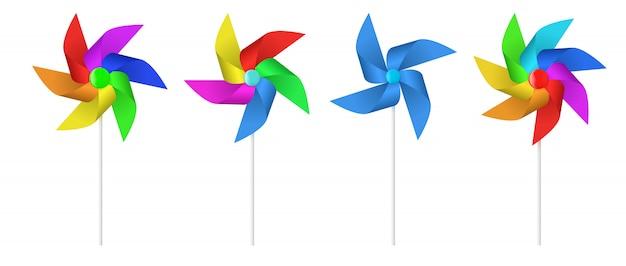 Hélice del molino de viento de papel de juguete de varios colores.