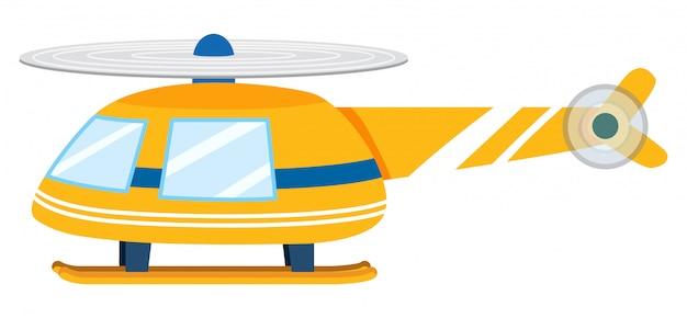 Un helicóptero amarillo sobre fondo blanco