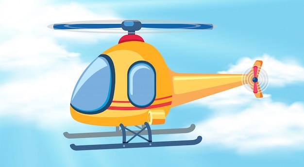 Un helicóptero en el cielo.