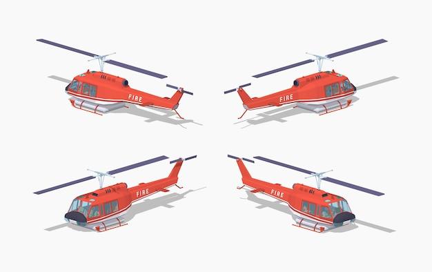 Helicóptero de fuego de baja poli