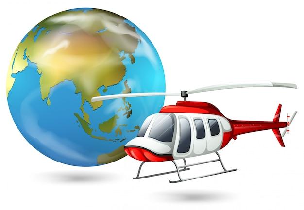 Un helicóptero y un globo terráqueo