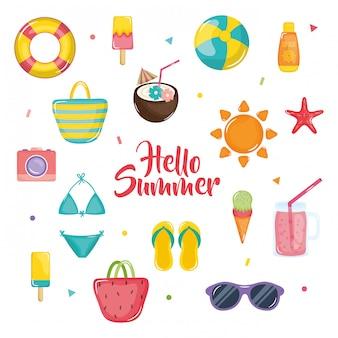 Hellow ilustración de verano con elementos de vacaciones