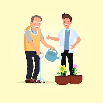 Hemiplejia de personas mayores regando sus flores con terapeuta.
