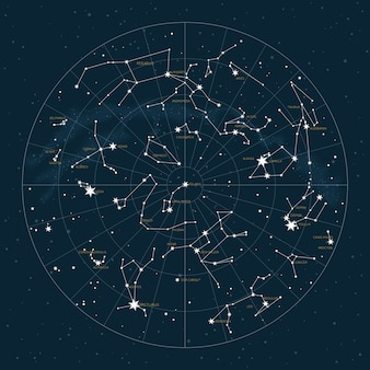 Hemisferio norte. mapa estelar de constelaciones