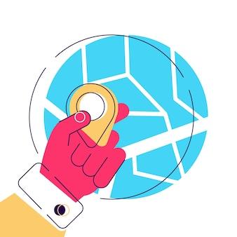 Hemos movido el servicio de entrega navegando por la aplicación de mapas reubicación mano sosteniendo un pin geo
