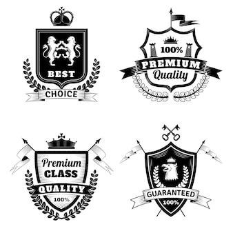 Heraldic best choice emblems set