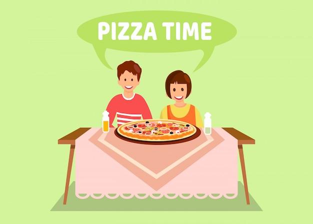 Hermana y hermano cenando ilustración plana