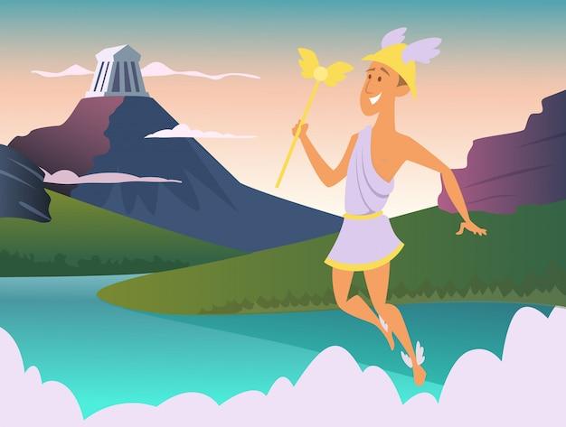 Hermes. dios griego de la ilustración comercial