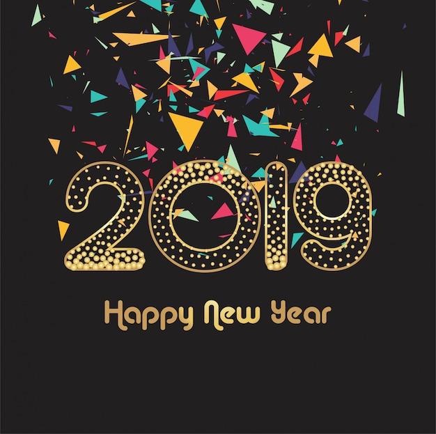 Hermosa 2019 año nuevo tarjeta celebración vector de fondo