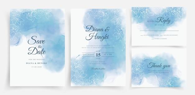 Hermosa acuarela azul suave en plantilla de tarjeta de boda