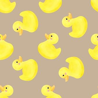 Hermosa acuarela baby duck seamles patrón