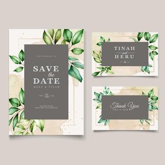 Hermosa acuarela deja plantilla de tarjeta de boda