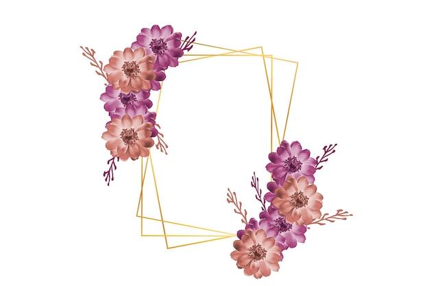 Hermosa acuarela elegante floral con marco dorado
