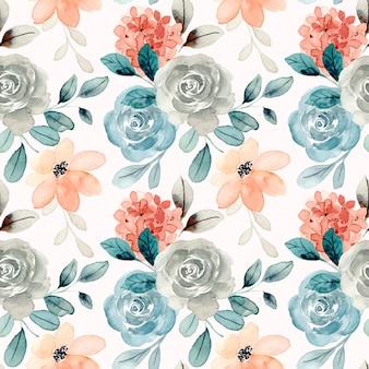 Hermosa acuarela flor color de rosa de patrones sin fisuras