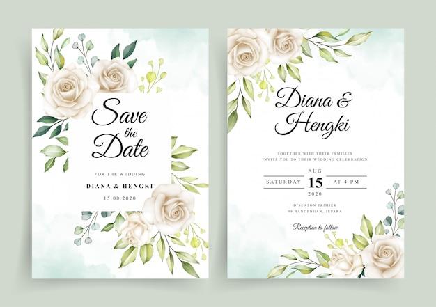 Hermosa acuarela floral blanca en plantilla de tarjeta de invitación de boda