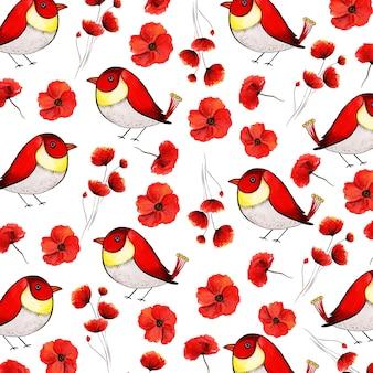 Hermosa acuarela floral, hojas y aves de fondo