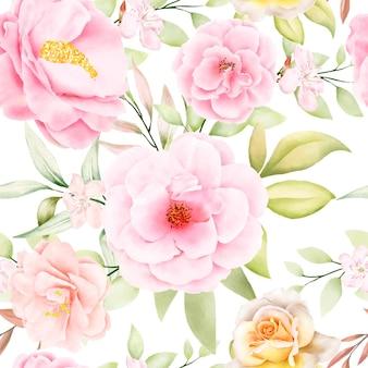 Hermosa acuarela floral y hojas de patrones sin fisuras