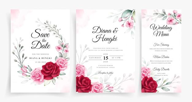 Hermosa acuarela floral en plantilla de invitación de tarjeta de boda conjunto
