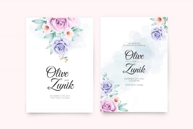 Hermosa acuarela floral en plantilla de tarjeta de boda