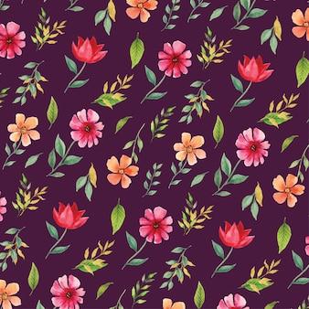 Hermosa acuarela floral primavera rosa y naranja de patrones sin fisuras en fondo púrpura
