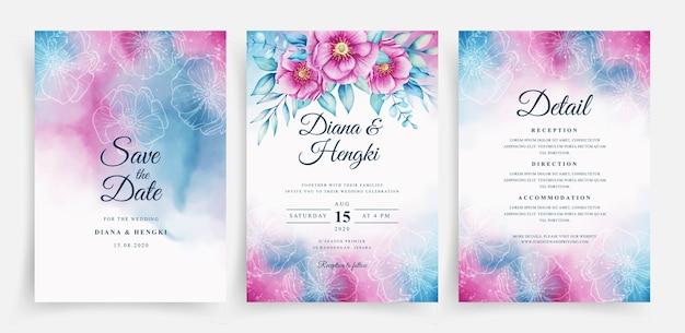 Hermosa acuarela y floral romántico en plantilla de tarjeta de boda