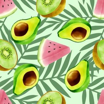 Hermosa acuarela frutas tropicales verano de patrones sin fisuras