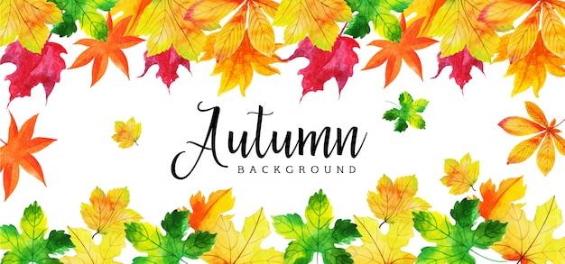 Hermosa acuarela hojas de otoño banner