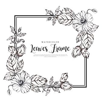 Hermosa acuarela marco floral blanco y negro