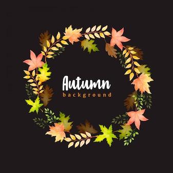 Hermosa acuarela otoño hojas corona plantilla de fondo