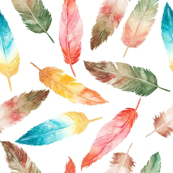 Hermosa acuarela pluma de patrones sin fisuras