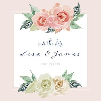 Hermosa acuarela rosa pintura tarjeta invitación plantilla