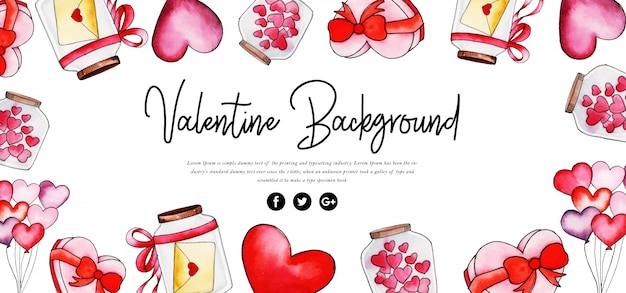 Hermosa acuarela san valentín banner
