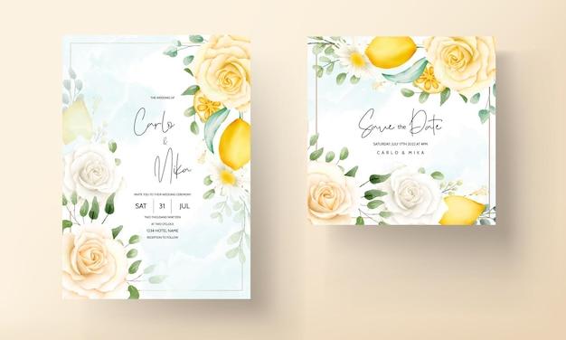 Hermosa acuarela verano floral deja plantilla de tarjeta de invitación de boda