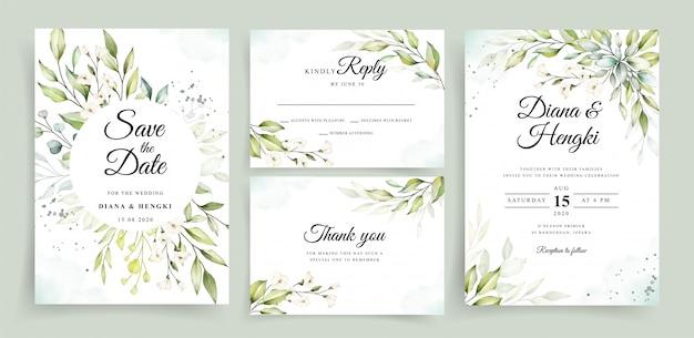 Hermosa acuarela verde en plantilla de tarjeta de invitación de boda