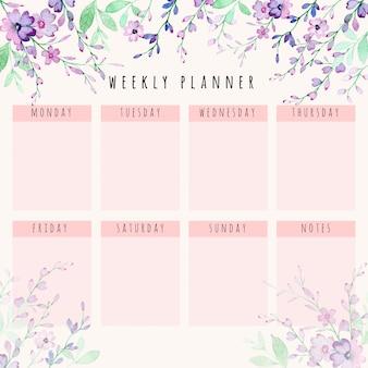 Hermosa agenda semanal con acuarela floral