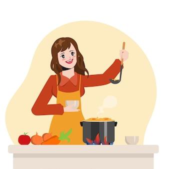 Hermosa ama de casa está cocinando en el diseño de animación de dibujos animados de vector de ilustración de cocina