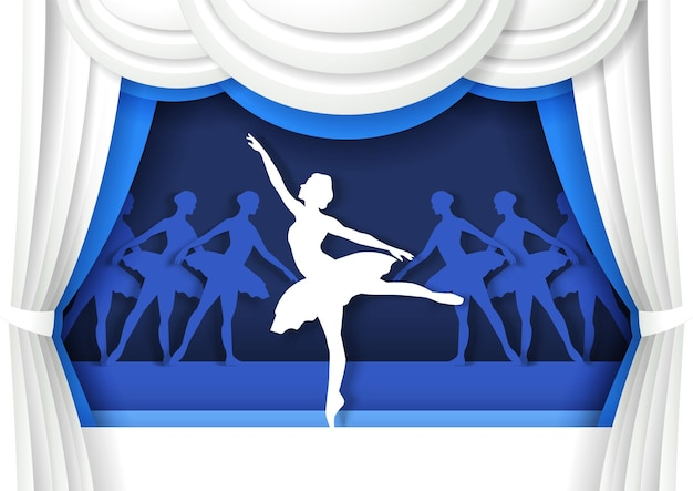 Hermosa bailarina bailando en el escenario en estilo artesanal de papel rendimiento de bailarina de ballet clásico