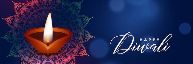 Hermosa bandera azul del festival de diwali con diya