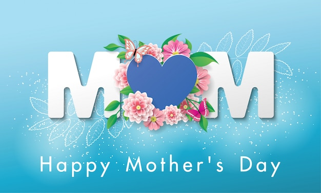 Hermosa bandera feliz día de la madre tarjeta de felicitación