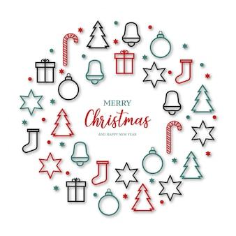 Hermosa bandera de feliz navidad con iconos
