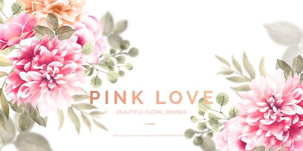 Hermosa bandera floral con flores de color rosa