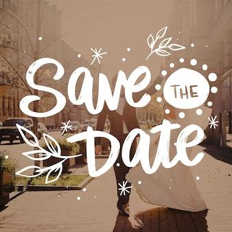 Hermosa boda guarda la fecha con foto