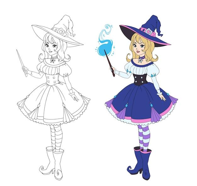 Hermosa bruja de anime con varita mágica. cabello rubio, vestido azul y sombrero grande.