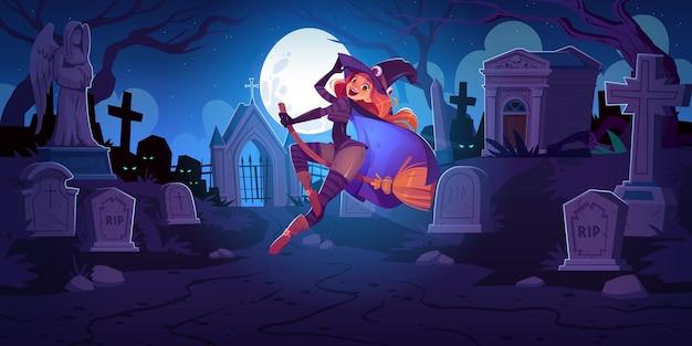 Hermosa bruja en el cementerio por la noche con una mujer pelirroja con sombrero espeluznante volando en escoba
