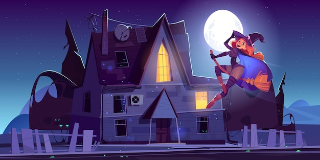 Hermosa bruja volando en escoba cerca de la ilustración de dibujos animados de la casa encantada